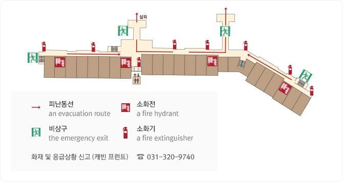 캐빈 호스텔 신관 3층 피난 대피도